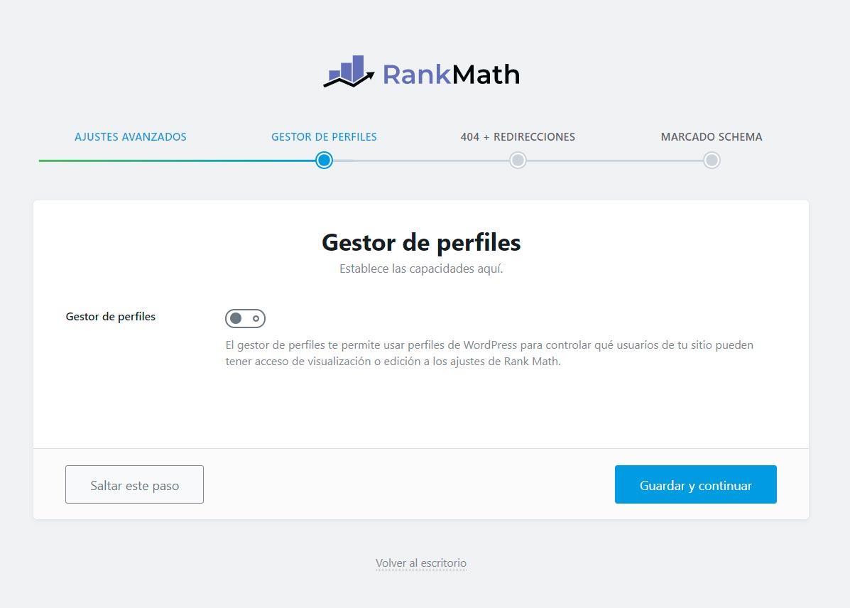 Asistente de instalación de Rank Math