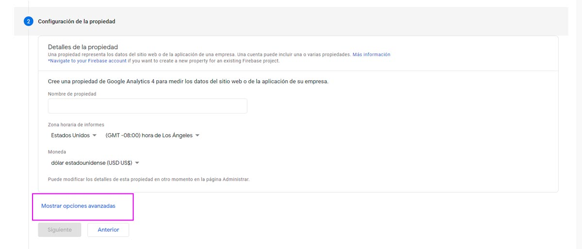 Crear una cuenta de Google Analytics
