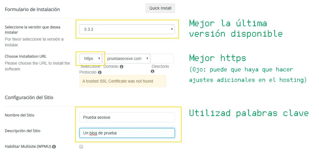 Instalar WordPress en cPanel: Paso 6
