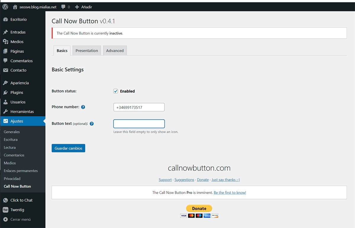 Instalar y configurar Call Now Button