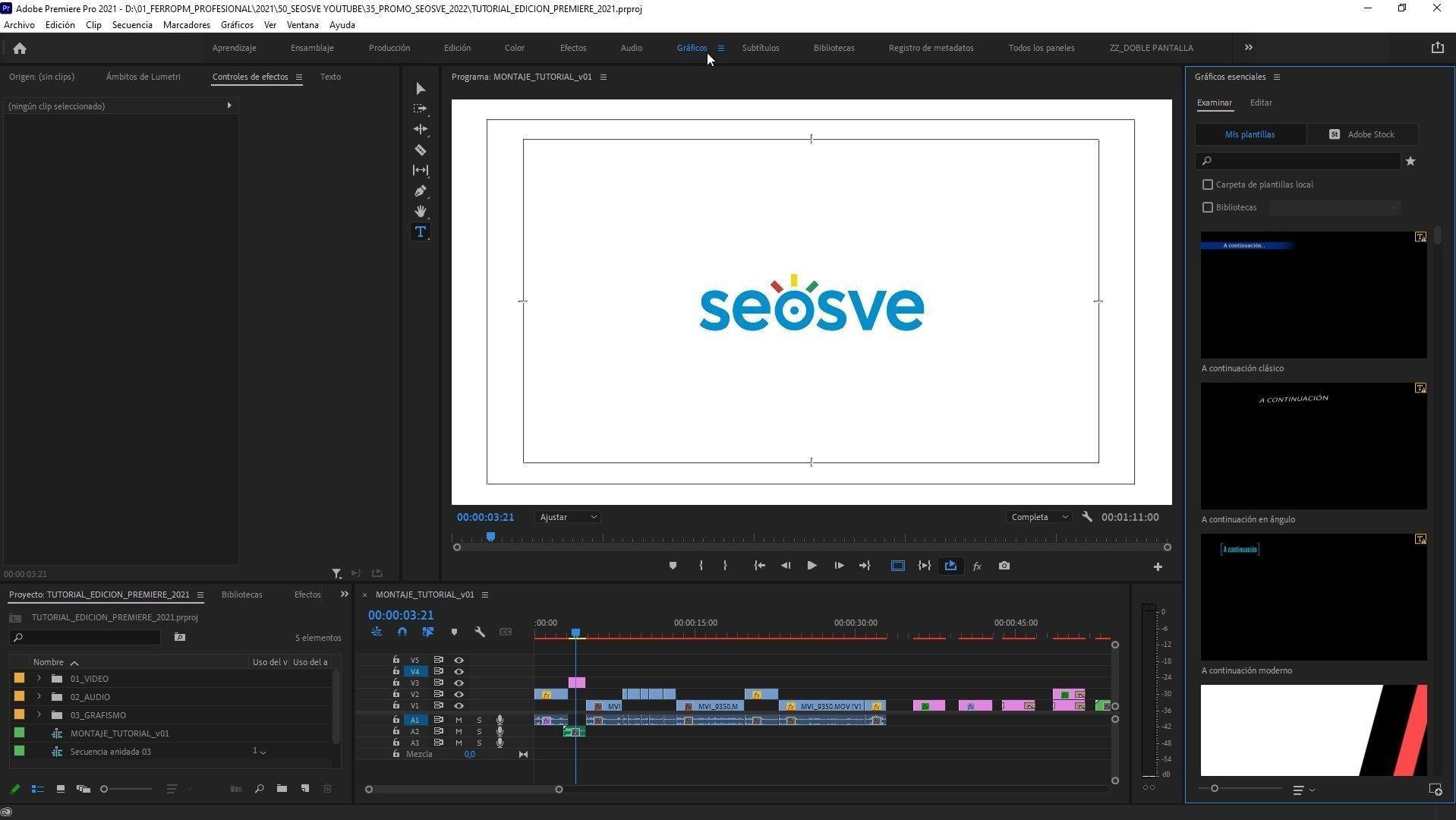 Panel de Essential Graphics en Premiere Pro