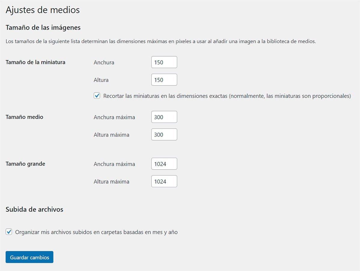 Ajustes de medios en Wordpress
