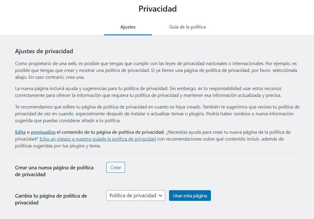 Ajustes de privacidad en Wordpress