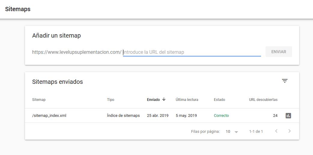 Datos de Google Search Console: Sitemaps