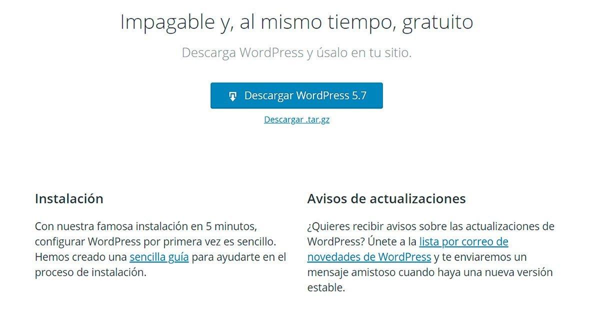 Cómo descargar Wordpress