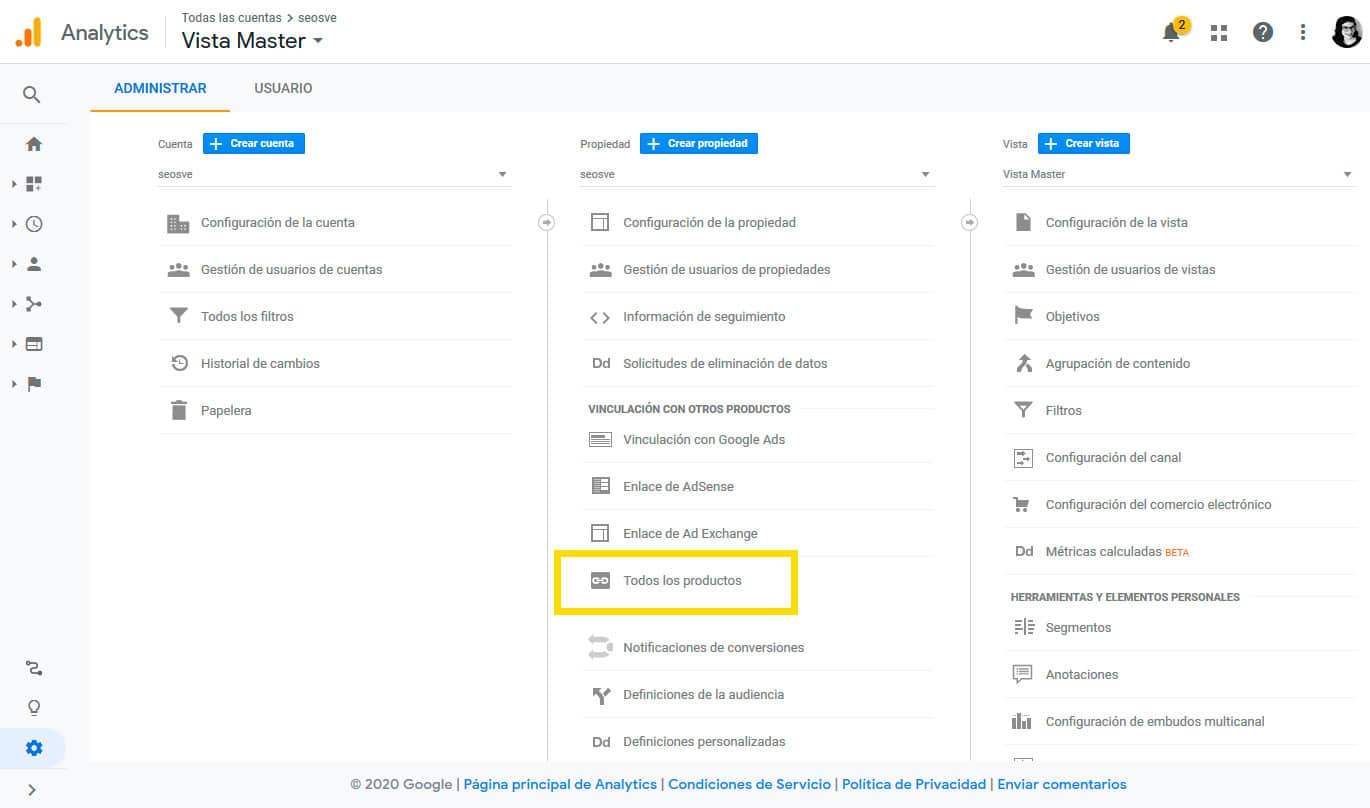 Conectar Google Analytics con Google Search Console: Paso 2