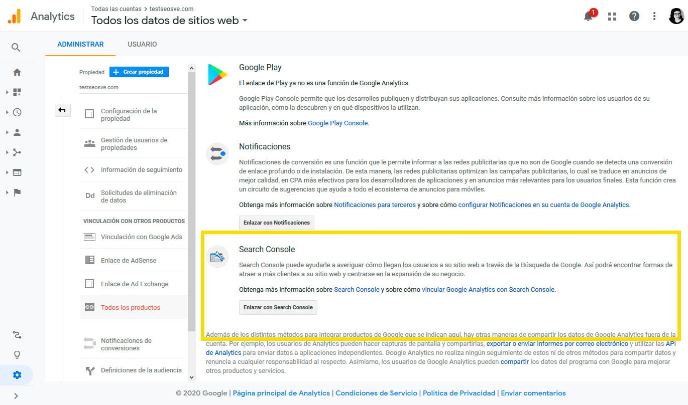 Conectar Google Analytics con Google Search Console: Paso 3
