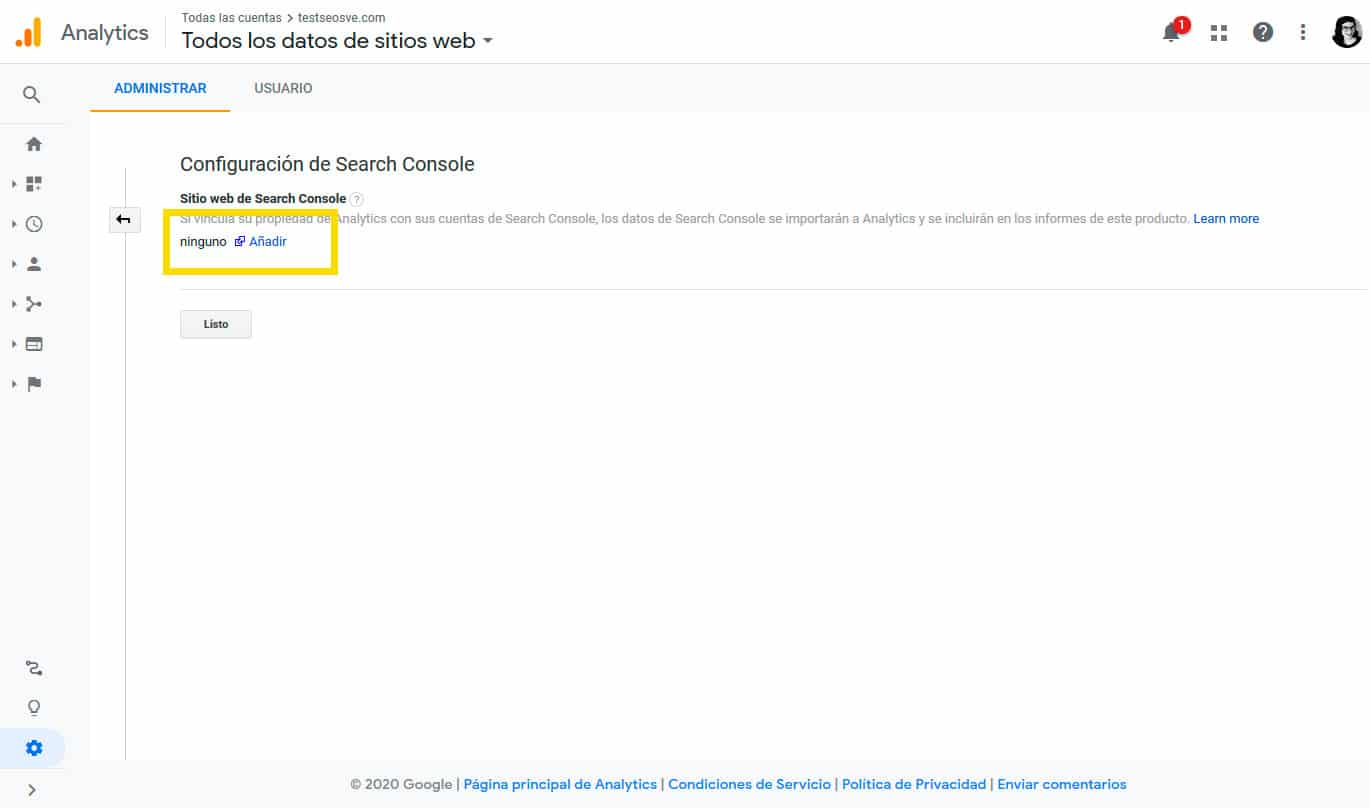 Conectar Google Analytics con Google Search Console: Paso 4