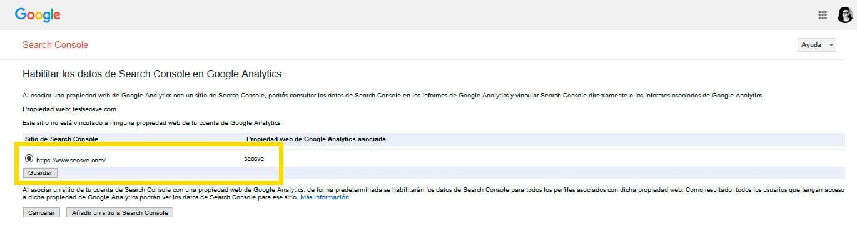 Conectar Google Analytics con Google Search Console: Paso 5