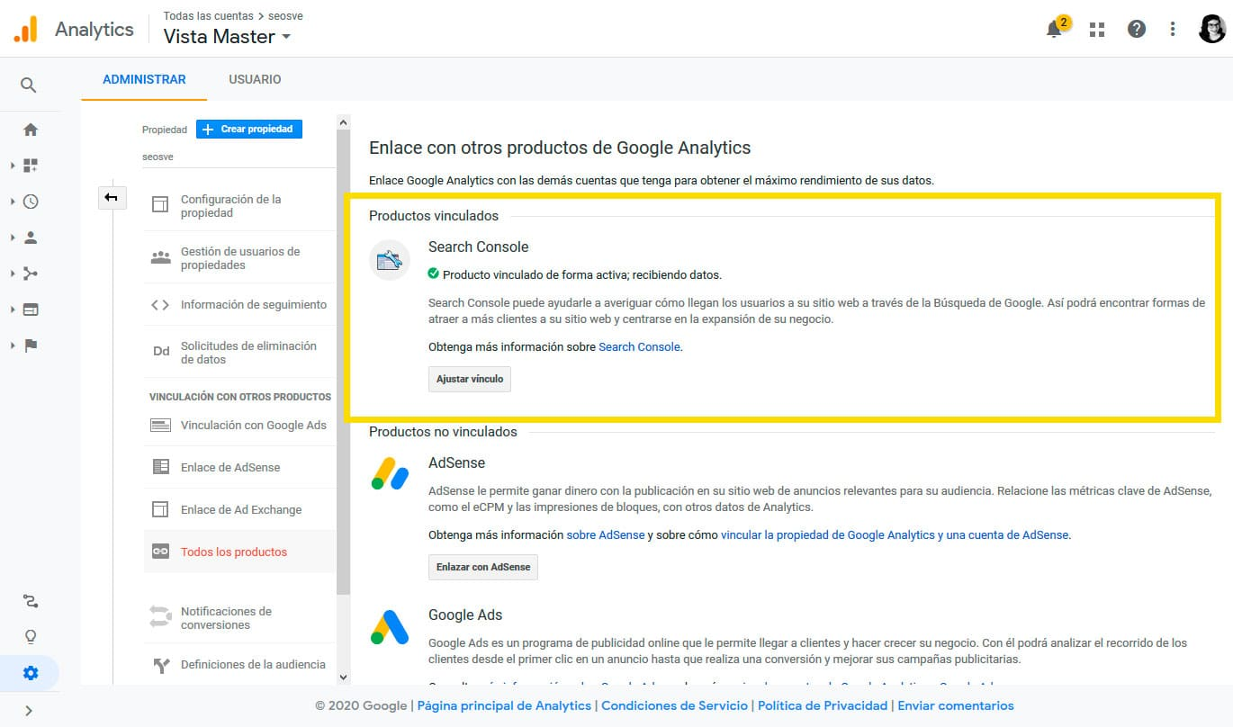 Conectar Google Analytics con Google Search Console: Paso 6