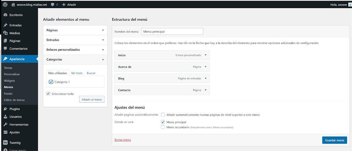 Configurar el menú en WordPress