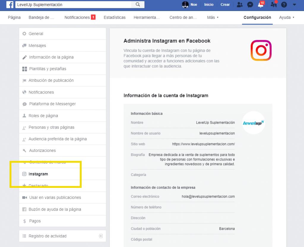 Conectar página de fans con Instagram