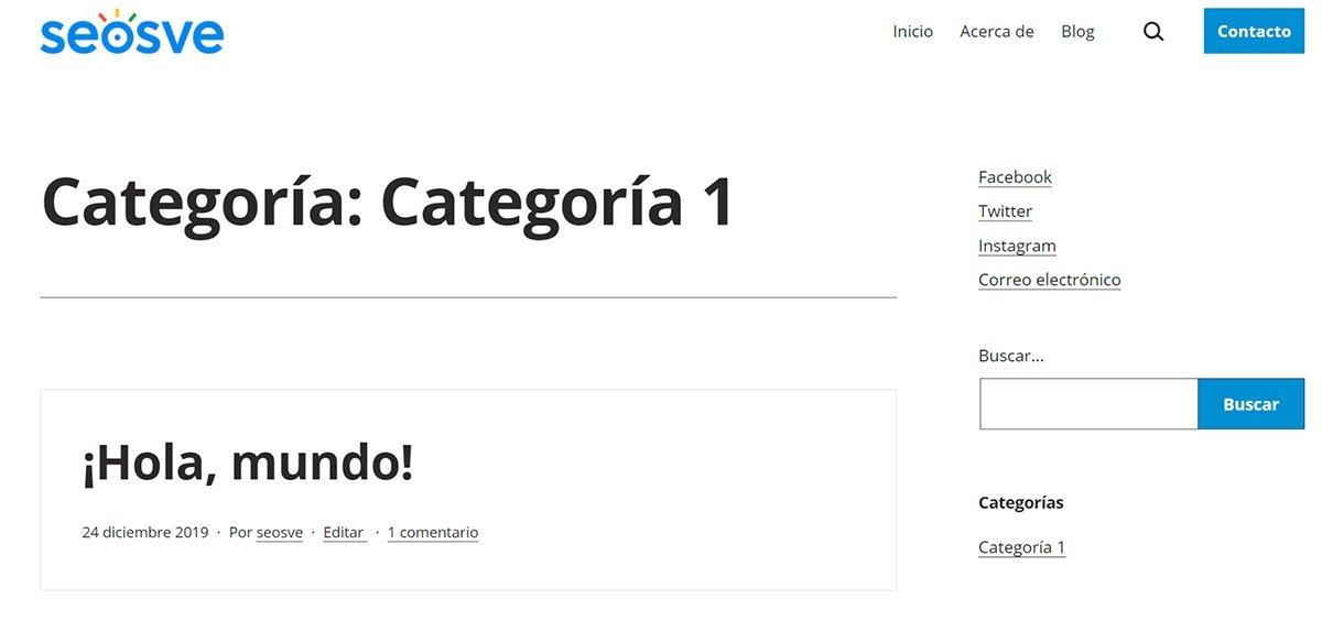 Crear categoría en WordPress