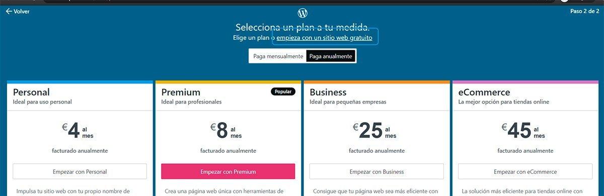 Crear una cuenta en Wordpress