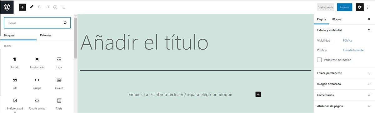 Crear una página en Wordpress