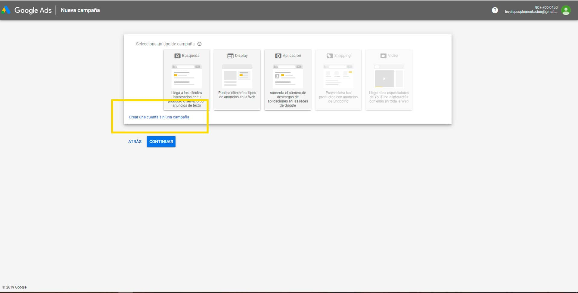 Crear una cuenta de Google Ads: Paso 3