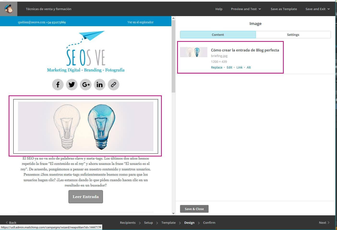 Diseñar y programar newsletters con mailchimp