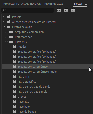 Ecualizador Premiere Pro