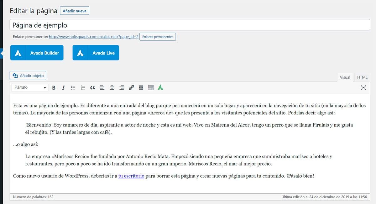 Editar página con Avada en WordPress