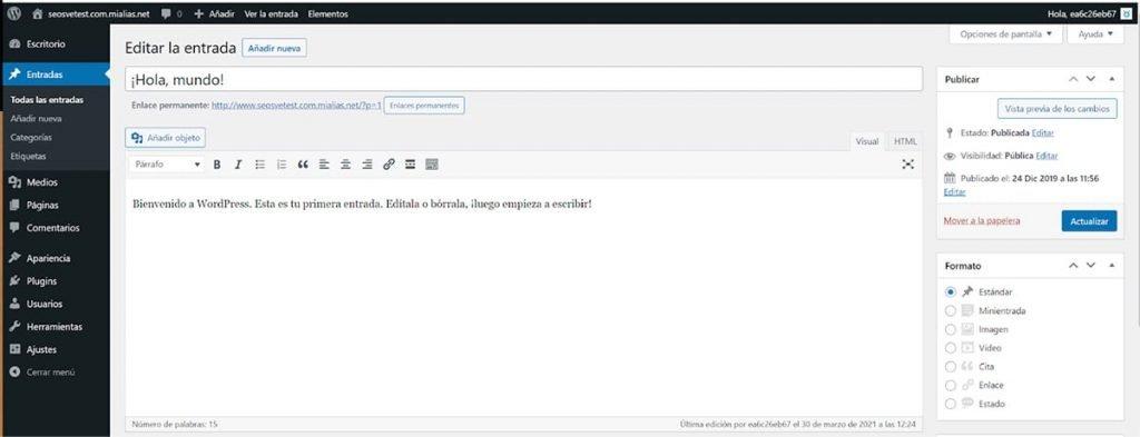 Editor clásico en una entrada de WordPress