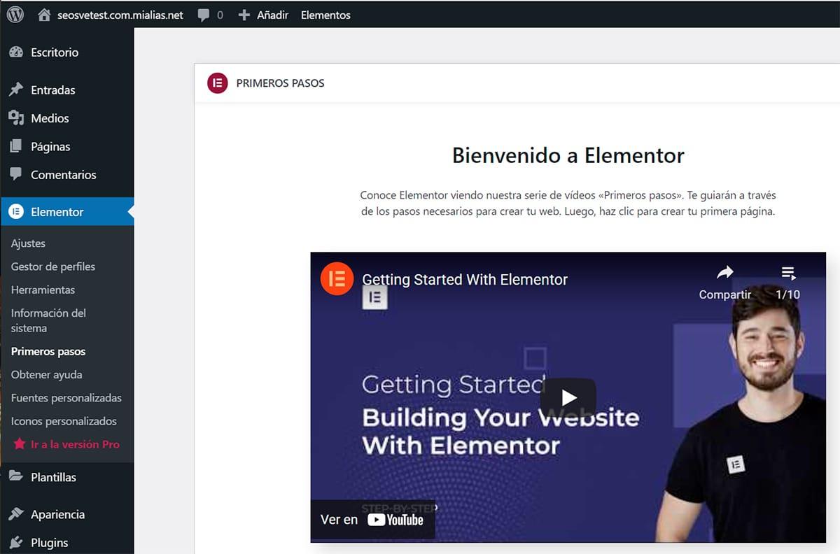 Editor Elementor en WordPress