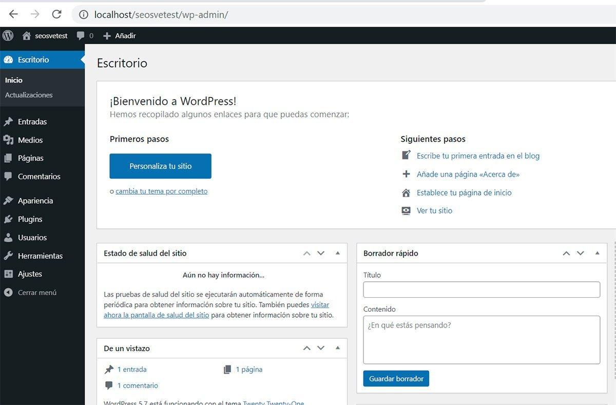 Escritorio en Wordpress