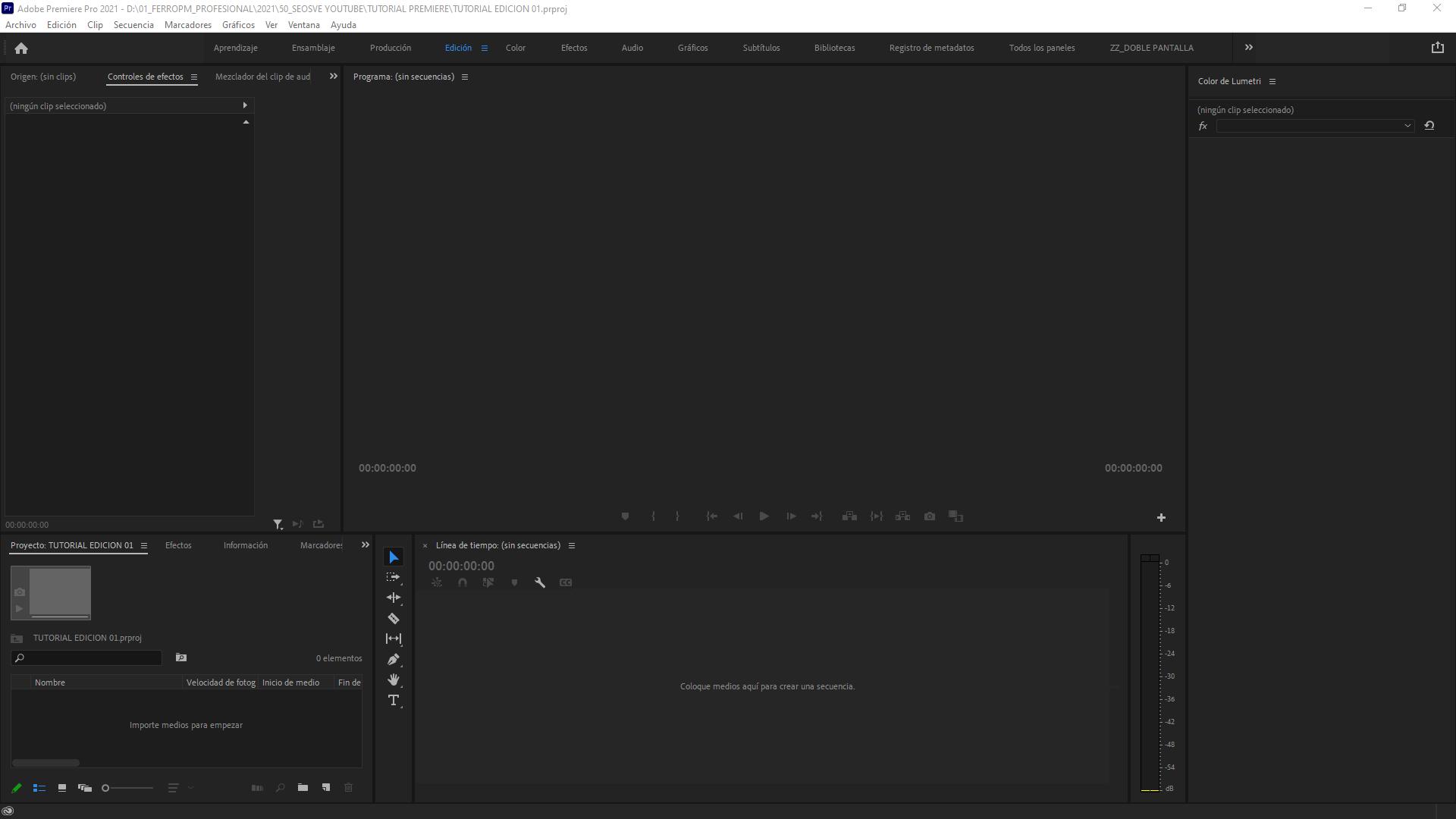 Espacio de trabajo en Premiere Pro