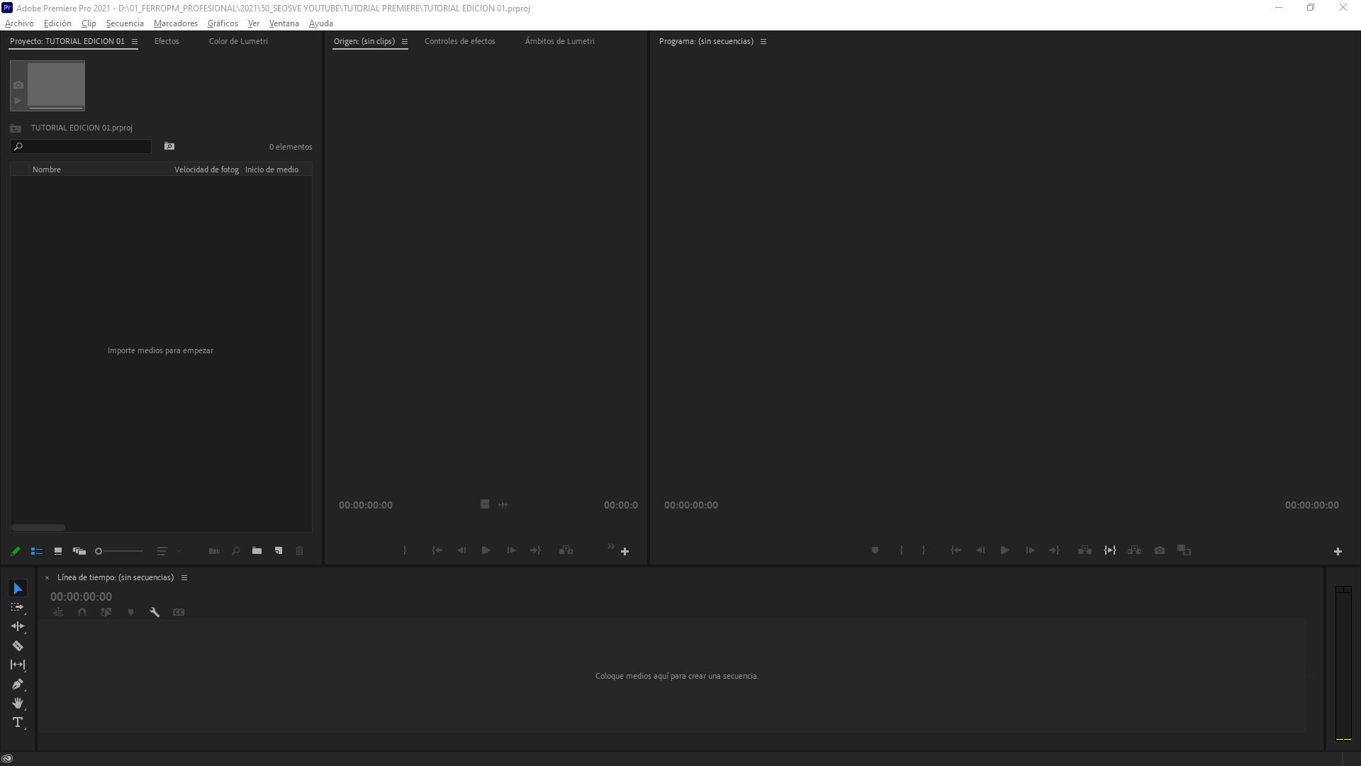 Crear secuencia en Premiere Pro