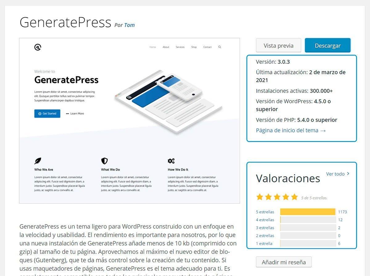 GeneratePress en WordPress