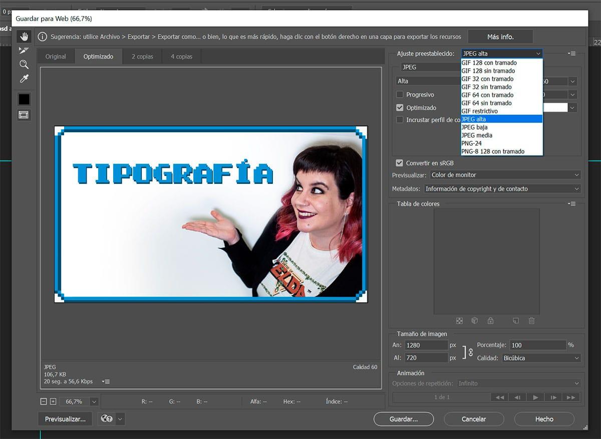 Guardar para Web en Photoshop