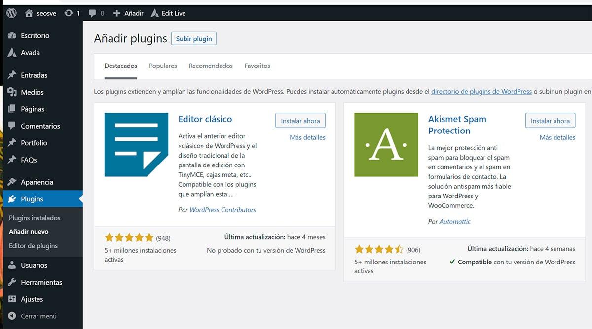 Instalar editor clásico en WordPress
