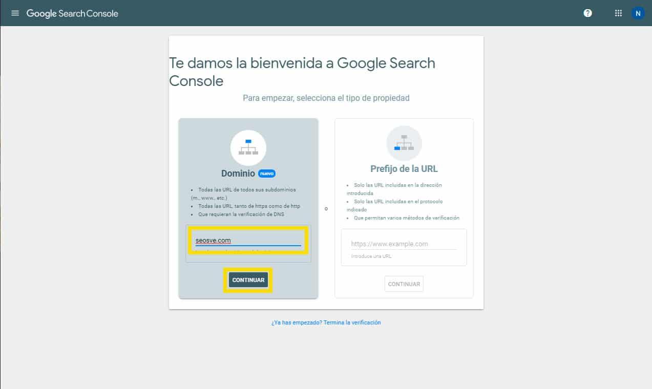 Crear una propiedad de Google Search Console: Por DNS paso 1