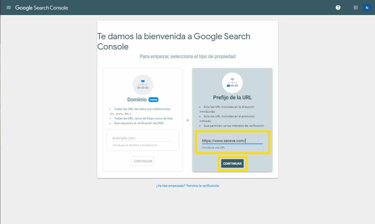 Crear una propiedad de Google Search Console: Por prefijo de URL paso 1