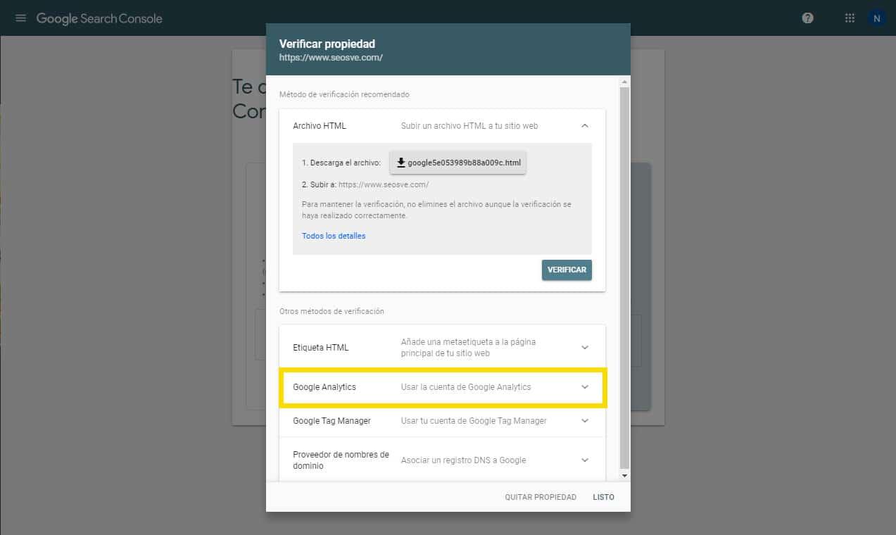 Crear una propiedad de Google Search Console: Por prefijo de URL paso 2