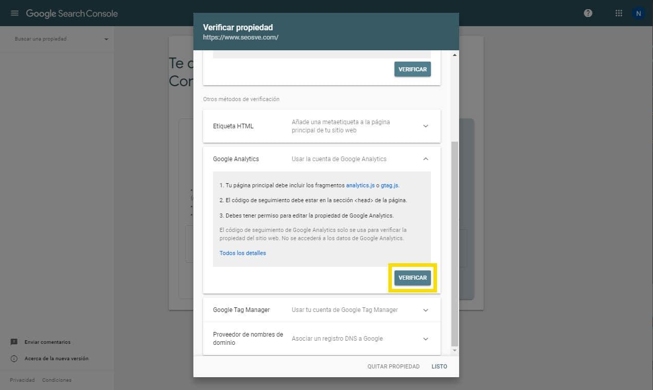 Crear una propiedad de Google Search Console: Por prefijo de URL paso 3