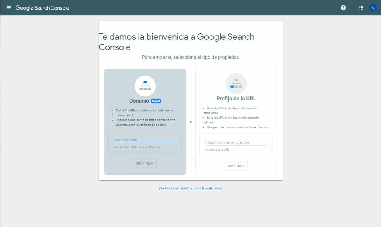 Crear una propiedad de Google Search Console: Paso 0