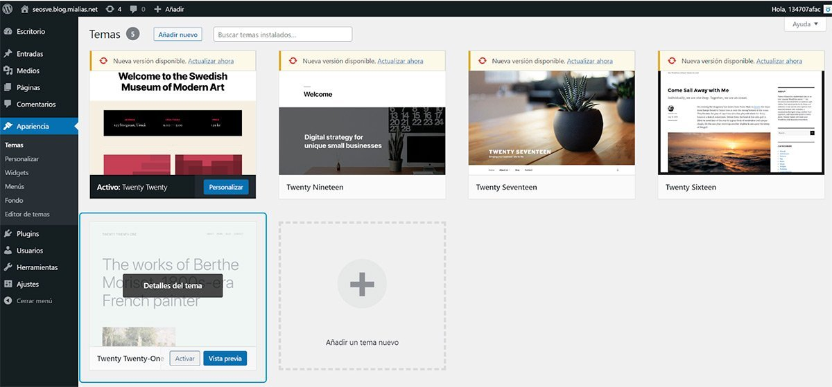 Instalar temas de WordPress