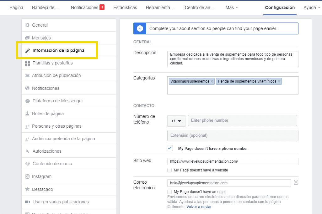 Marketing Digital en Facebook: Completar información