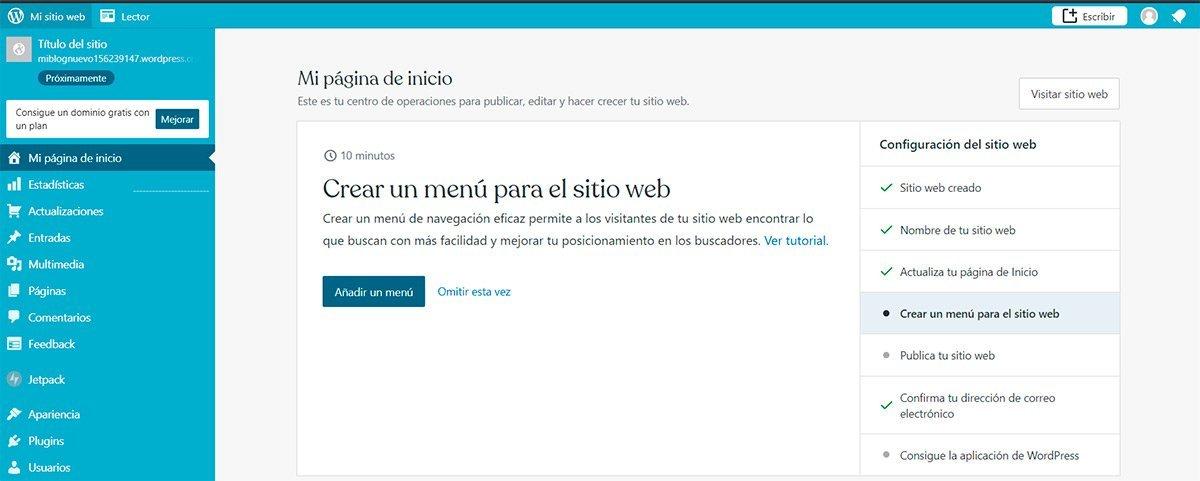 Página de inicio en Wordpress