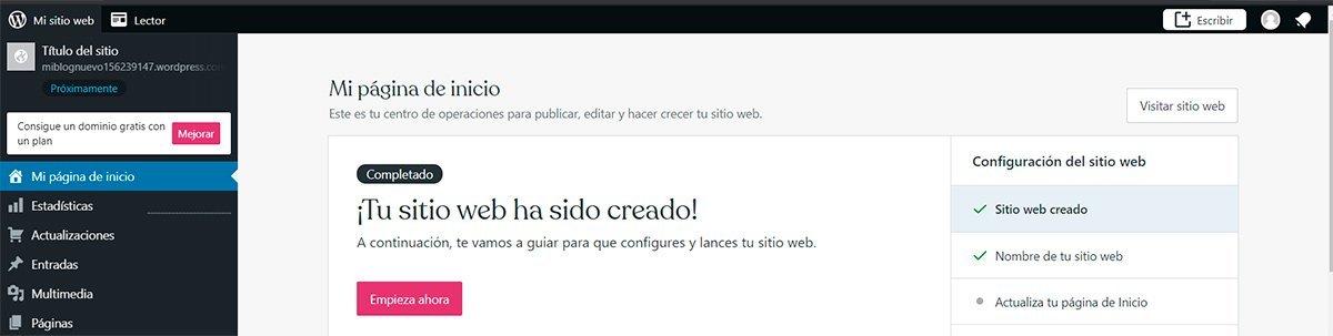 Panel de control en Wordpress
