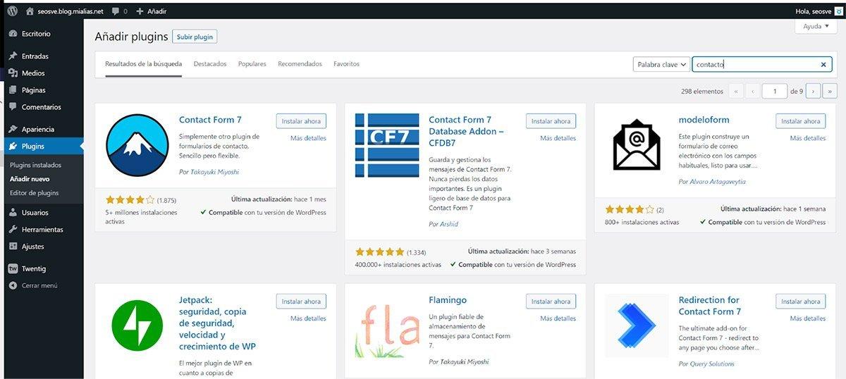 Plugins para formulario de contacto para WordPress