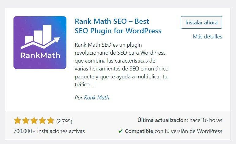 Plugins SEO para WordPress: Rank Math SEO