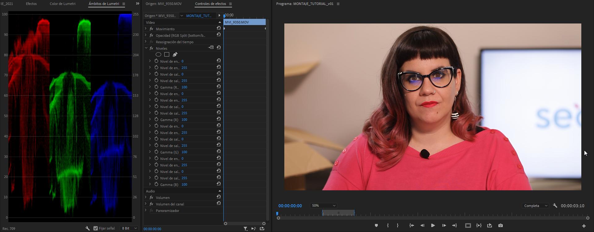 Retoque de color clásico en Premiere Pro