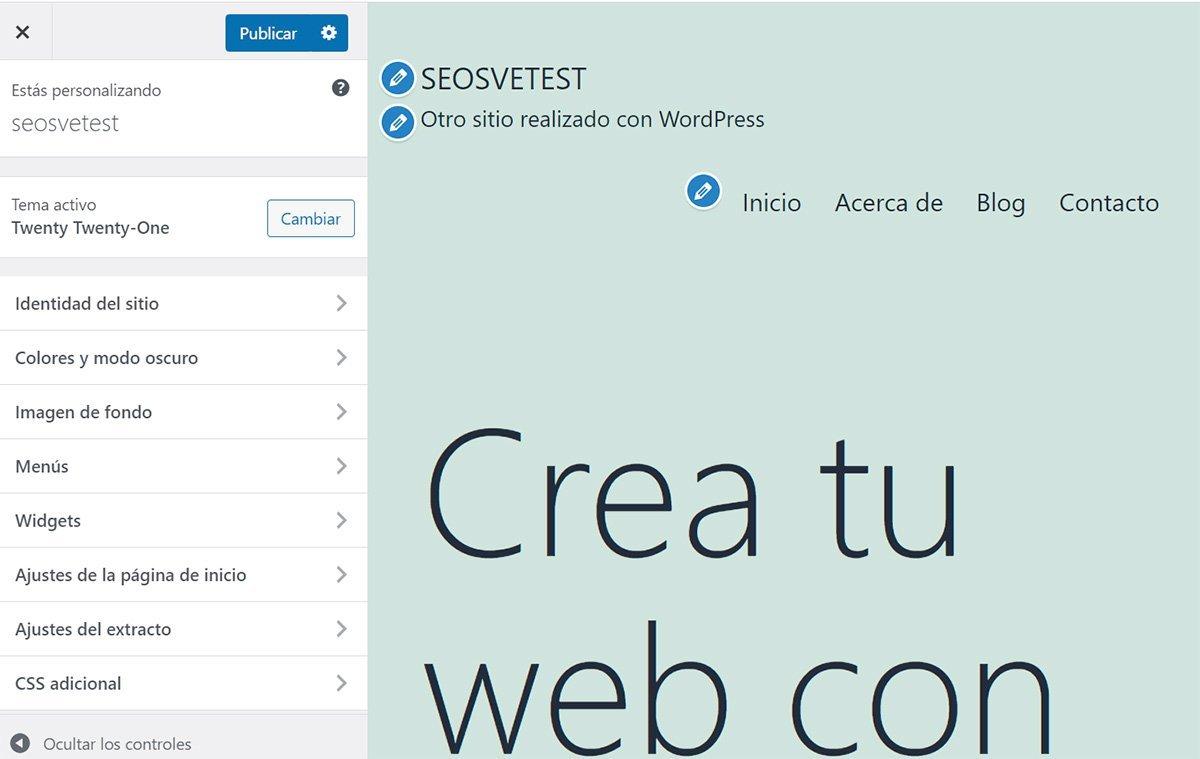 Sección de personalizar en Wordpress